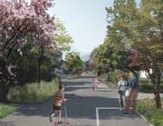 So wird's in der Kuonimatt kaum: Verkehrsberuhigende Gestaltungselemente und Bäume entlang der Strasse wie von den Planern vorgeschlagen, kommen schlecht an - es handelt sich um Privatstrassen. (Visualisierungen: PD)
