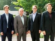 Die vier Gründer hinter dem Billigairline-Projekt Swiss Skies haben sich viel vorgenommen: Sie wollen Billigflüge auf der Langstrecke anbieten. Im Bild Harald Vogels, Philippe Blaise, Armin Bovensiepen und Alvaro Oliveira (von links). (Bild: KEYSTONE/ALEXANDRA WEY)