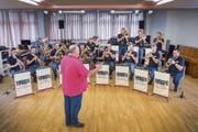 Üben, üben, üben: Böhmisch-mährische Blasmusik ist gar nicht so einfach zu spielen. (Bild: Urs Bucher, Herisau, 2. September 2018)