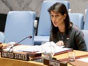 «Sanktionen gegen Nordkorea werden unterlaufen und behindert»: die US-Botschafterin bei den Vereinten Nationen, Nikki Haley. (Bild: KEYSTONE/EPA/JUSTIN LANE)