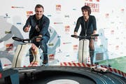 Bundesrätin Doris Leuthard und Fussballer Xherdan Shaqiri warben vor zwei Jahren für die Energy Challenge. (Bild: Marcel Bieri/KEY (Bern, 6. April 2016))