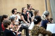 Luc «Leduc» Oggier, Julia Portmann und Lorenz «Lo» Häberli (von links nach rechts) bei der Probe im KKL. Bild: Pius Amrein (Luzern, 18.September2018)