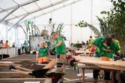 Gärtner in Aktion an den Schweizer Berufsmeisterschaften vergangene Woche in Bern.(KEYSTONE/Anthony Anex).