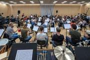 Lo & Leduc proben mit dem 21st Orchestra Luzern. Bild: Pius Amrein (Luzern, 18.September2018)