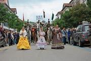 Die St.Gallische Reitermusik führte den Umzug des siebten Biedermeierfestes an. (Bild: Bilder: Martin Schneider)