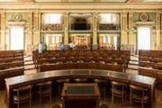 Gedreht werden soll auch im heutigen Kantonsratssaal beim St.Galler Klosterhof. Hier wurde der Angeklagten Frieda Keller der Prozess gemacht.