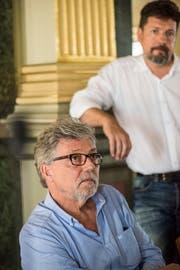 Regisseur Jürg Ebe und Drehbuchautor Roland Schäfli wollen die wahre Geschichte der Frieda Keller auf die Kinoleinwand bringen. (Bild: Thomas Hary)