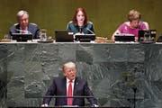 Donald Trump während seines Auftritts vor der UNO-Vollversammlung. (Bild: Justin Lane/EPA; New York, 25. September 2018)