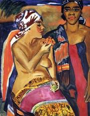 «Frauen mit buntem Teppich»: Max Pechstein, Südsee, 1920, Öl auf Leinwand. (Bild: PD)