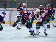 Die Biasca Ticino Rockets (in den blauen Trikots) freuen sich über einen erfolgreichen Saisonstart (Bild: KEYSTONE/TI-PRESS/PABLO GIANINAZZI)