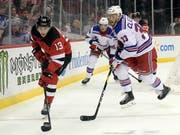 Nico Hischier ist bereits in der NHL-Saisonvorbereitung treffsicher (Bild: KEYSTONE/FR51951 AP/BILL KOSTROUN)