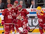 2. Sieg im 3. Spiel: Die Lausanner Spieler dürfen mit dem Saisonstart zufrieden sein (Bild: KEYSTONE/LAURENT GILLIERON)