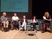 Diskussionsteilnehmer Karlheinz Geissler, Franz Knupp, Jonas Geissler und Lorena Mohn mit Moderatorin Sabrina Lehmann. (Bild: PD)
