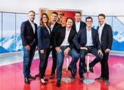 Das Ski-Alpin-Kommentatoren-Team von SRF (von links): Michael Bondt, Michèle Schönbächler, Stefan Hofmänner, Marc Berthod, Didier Plaschy, Marco Felder und Adrian Lustenberger.