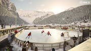 Ein Eishockey-Spiel im Freien. Bild: PD