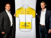 Richard Chassot (links), der Direktor der Tour de Romandie, bei der Präsentation der Rundfahrt von 2019 (Bild: KEYSTONE/VALENTIN FLAURAUD)
