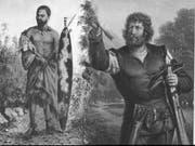 Was verbindet die Freiheitshelden Makhanda und Wilhelm Tell? (Bild: Bilder: Frederik Timpson l'Ons (Zeichnung) / Friedrich Pecht ()