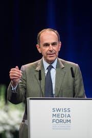 Der Präsident Verband Schweizer Medien und Verleger Tamedia, Pietro Supino im KKL. (Bild: KEYSTONE/Urs Flueeler)