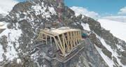 Imposantes Bauwerk mit doppelter Lungerer Beteiligung: Die höchst gelegene Bergbahnstation Europas am Kleinen Matterhorn. (Bild: PD)