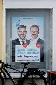 Wahlplakat von Florian Weber und Andreas Hostettler. (Bild: Stefan Kaiser, Menzingen, 27.09. 2018)