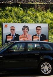 Wahlplakat von Martin Pfister, Silvia Thalmann und Beat Villiger. (Bild: Stefan Kaiser, Menzingen, 27.09. 2018)