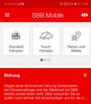Die Störungsmeldung in der SBB-App. (Bild: Screenshot App)