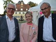 Sandra Gräfin Bernadotte von der Insel Mainau mit den Unternehmern Eugen Goldinger und Thomas Imhof. (Bild: Margrith Pfister-Kübler)