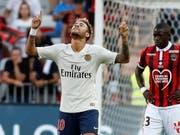 Neymar lässt sich gegen OGC Nice als Doppeltorschütze feiern (Bild: KEYSTONE/EPA/SEBASTIEN NOGIER)