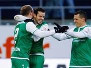 Freude herrscht: Tranquillo Barnetta trifft für St. Gallen gleich doppelt (Bild: KEYSTONE/EDDY RISCH)