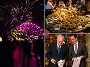 Ein Feuerwerk, ein üppiges Buffet und strahlende Gesichter bei Bundesrat Johann Schneider-Ammann und Scheich Nawaf bin Jassim bin Jabor Al-Thani bei der Eröffnung des Bürgenstock-Resort. (Bilder: Philipp Schmidli (Bürgenstock, 28. September 2018))