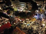 Blick von oben auf das Festzentrum beim Pestalozzi-Schulhaus in Weinfelden. (Bilder: Mario Testa)