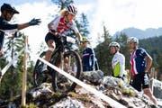 Die Schweizer Mountainbikerin Jolanda Neff während dem Training zur Heim-WM in der Lenzerheide. (Bild: Gian Ehrenzeller/Keystone (Lenzerheide, 4. September 2018))