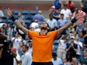 Juan Martin del Potro trotzte am US Open der Hitze und seinem Gegner John Isner und qualifizierte sich erneut für die Halbfinals (Bild: KEYSTONE/AP/CAROLYN KASTER)