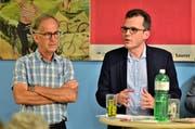 «Richtig und nötig»: Stadtrat Peter Gubser (SP) und CVP-Parlamentarier Dominik Diezi wollen Signal setzen. (Bilder: Max Eichenberger)