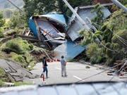 Erdbebenschäden auf der japanischen Insel Hokkaido vom Donnerstag. (Bild: KEYSTONE/AP Kyodo News/MASANORI TAKEI)