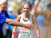 Martina Strähl triumphierte zum zweiten Mal am Jungfrau-Marathon (Bild: KEYSTONE/WALTER BIERI)