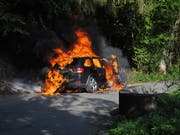 Am Samstagmorgen ist in Schaffhausen ein Personenwagen komplett ausgebrannt. (Bild: PD Schaffhauser Polizei)