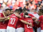 Gleich sechsmal konnten die Schweizer gegen Island jubeln (Bild: KEYSTONE/PETER SCHNEIDER)