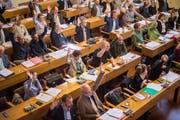 Blick in den Saal des St.Galler Stadtparlaments. Es tagt im Schnitt einmal im Monat im Waaghaus. (Bild: Benjamin Manser - 28. März 2017)
