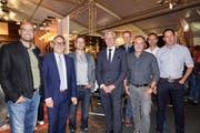 Präsidenten Wirtschaftsorg. WWO (Dachorganisation aller Werdenberger Gewerbevereine) zusammen mit der Lihga-Messeleitung Georges Lüchinger und Leone Ming. (Bild: PD)