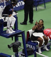 Serena Williams beleidigt den Schiedsrichter. Bild: Brian Hirschfeld/Keystone (New York, 8. September 2018)