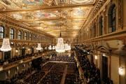 Die Wiener Philharmoniker spielten im Goldenen Saal des Musikvereins. Bild: Ronald Zak / AP