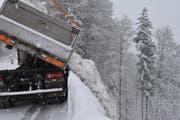 Lastwagen um Lastwagen wird der Schnee im Tobel unterhalb der Walke in Herisau entsorgt. (Bild: Mea McGhee)