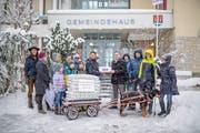 Die IG Bettenwiese bei der Übergabe der Unterschriften für das Referendum zur Verhinderung einer Überbauung im Betten Süd an die Gemeinde Wittenbach, am Donnerstag, 10. Januar 2019, in Wittenbach. ©Benjamin Manser / TAGBLATT
