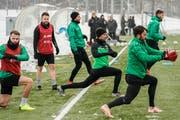 Training nach der Winterpause: Roman Buess (vorne links), Andreas Wittwer, Alain Wiss und Torhüter Daniel Lopar (vorne rechts). (Bild: Andy Mueller/freshfocus)