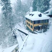 «Schnee im Überfluss vor der Haustüre» schreibt Leserin Maria Roth zu ihrem Bild aus dem tiefverschneiten St.Gallen.