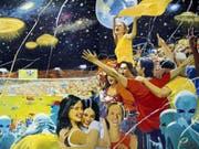 Das Gemälde «Earth Wins!» (2004) von Vladimir Dubossarsky & Alexander Vinogradov ist vom 5. April bis 30. Juni 2019 im Kunsthaus Zürich in der Ausstellung «Fly me to the Moon» zu sehen. (Bild: Vladimir Dubossarsky & Alexander Vinogradov)