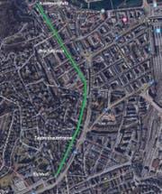 Die Strecke des Pilotprojekts «Velostrasse».