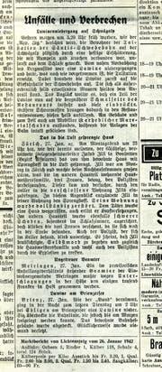 Über einen Lawinenniedergang beim Säntismassiv wird im «Tagblatt» vom 28. Januar 1942 berichtet. (Bild: Tagblatt-Archiv)