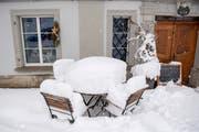 In Speicher liegt viele Schnee – und es wird am Wochenende noch mehr dazu kommen. (Bild: Urs Bucher)